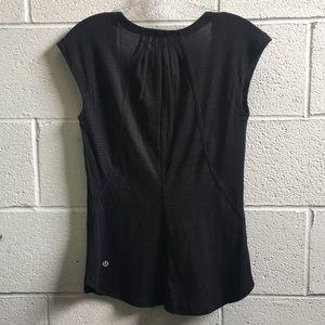 lululemon athletica Tops - Lululemon black thin stripe tee size 2 58380